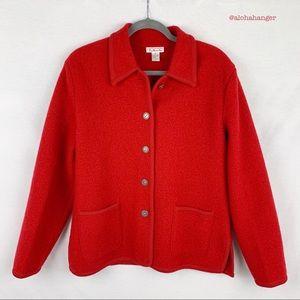 Talbots Red 100% Wool Cardigan Jacket!